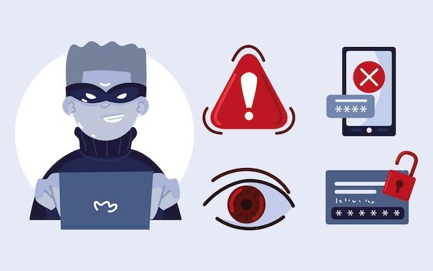 Pictogrammen voor cybercriminaliteit