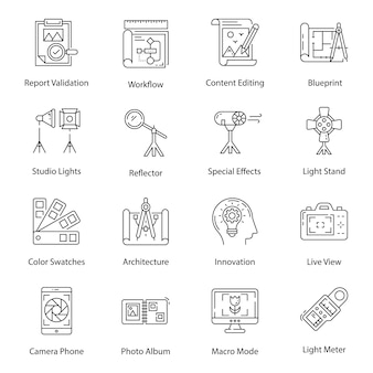 Pictogrammen voor digitale illustraties en fotografie in lijnstijl