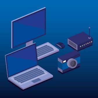 Pictogrammen voor digitale technologie isometrics