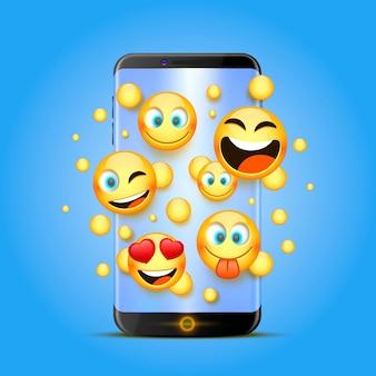 Pictogrammen voor emoji van de telefoon op een oranje achtergrond. vector illustratie