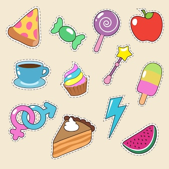 Pictogrammen voor fruit, pizza, koffie en snoep stickers. meisjesmode patches collectie