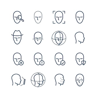 Pictogrammen voor gezichtsherkenningslijn. ziet de detectie van biometrie, scans in het gezicht en de vectorpictogrammen van het ontgrendelingsmechanisme tegemoet. gezichtsscan, gezicht biometrische identificatieillustratie