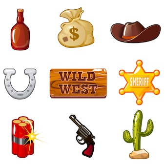 Pictogrammen voor het computerspel wild west