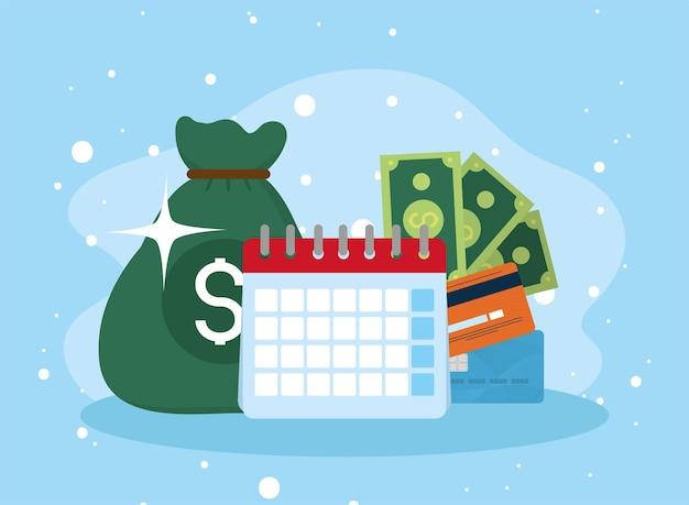 Pictogrammen voor kalender en financiële instellingen