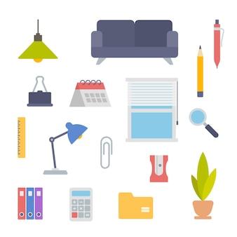 Pictogrammen voor kantoorapparatuur en briefpapier instellen zachte bank met lamp en binnenbloem