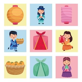 Pictogrammen voor kinderen en chuseok Premium Vector