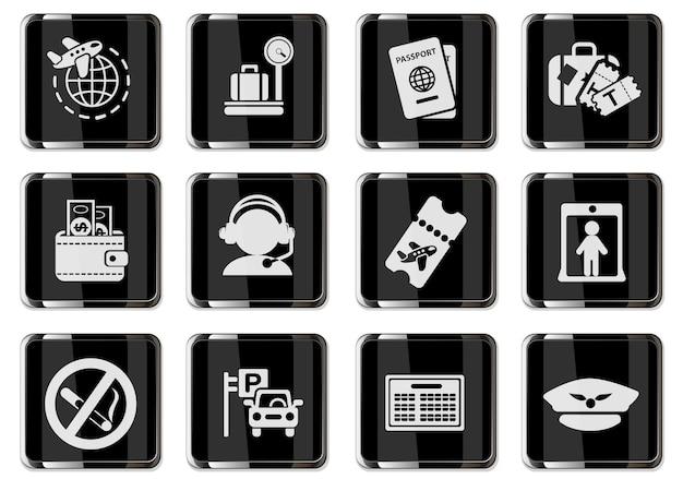 Pictogrammen voor luchthaven- en luchtvaartdiensten in zwarte chromen knoppen. pictogrammen ingesteld voor gebruikersinterfaceontwerp