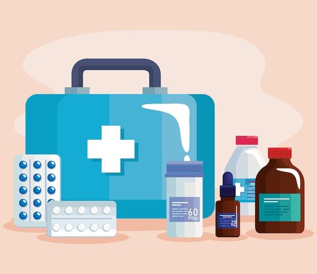 Pictogrammen voor medische kit en medicijnen