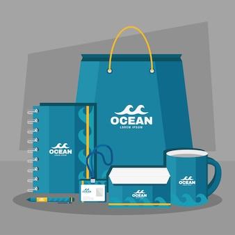 Pictogrammen voor merkidentiteit in de oceaan