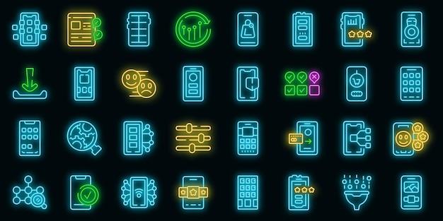 Pictogrammen voor mobiele apps instellen overzichtsvector. telefoon van de klant. sociale ervaring