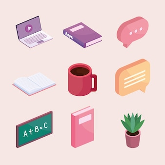 Pictogrammen voor online onderwijs