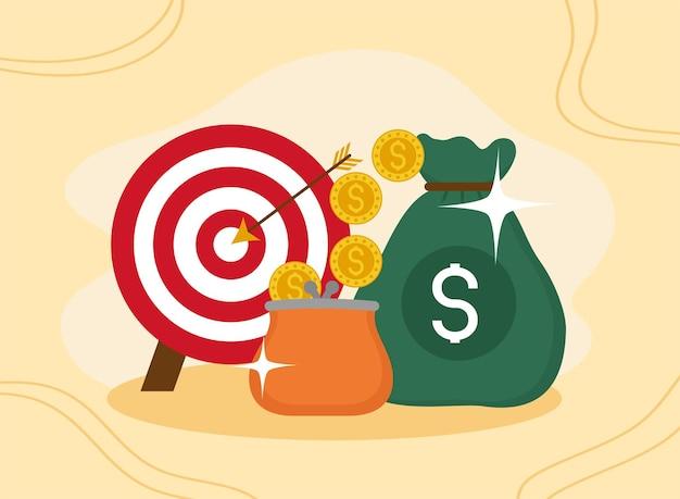 Pictogrammen voor portemonnee en doelgeld
