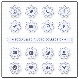 Pictogrammen voor sociaal netwerken met witte kleuren