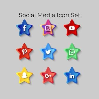 Pictogrammen voor sociale media instellen 3d-knopeffecten