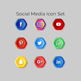 Pictogrammen voor sociale media instellen 3d-knoppeneffect