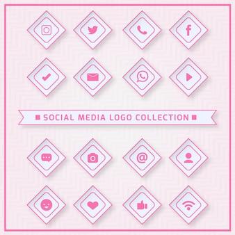 Pictogrammen voor sociale netwerken met roze kleuren