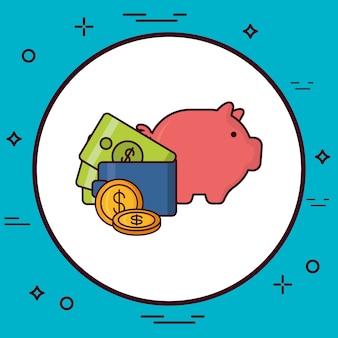 Pictogrammen voor spaarvarken en geld