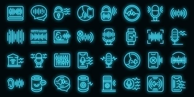 Pictogrammen voor spraakherkenning instellen. overzicht set van spraakherkenning vector iconen neon kleur op zwart