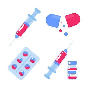 Pictogrammen voor vaccins en medicijnen om patiënten te helpen concept preventie van nieuwe virusstammen