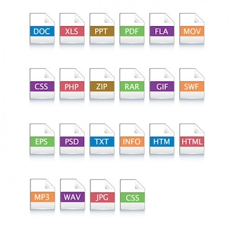 Pictogrammen voor verschillende bestanden