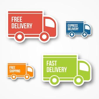 Pictogrammen voor verzending en gratis levering, gratis verzending, 24-uurs en snelle levering