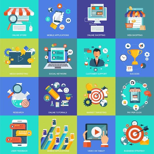 Pictogrammen voor website-ontwikkeling en mobiele telefoondiensten