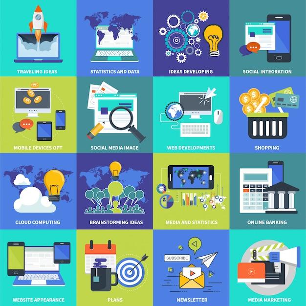 Pictogrammen voor website-ontwikkeling en mobiele toepassingen