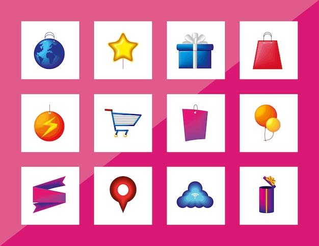 Pictogrammen voor winkeldagen