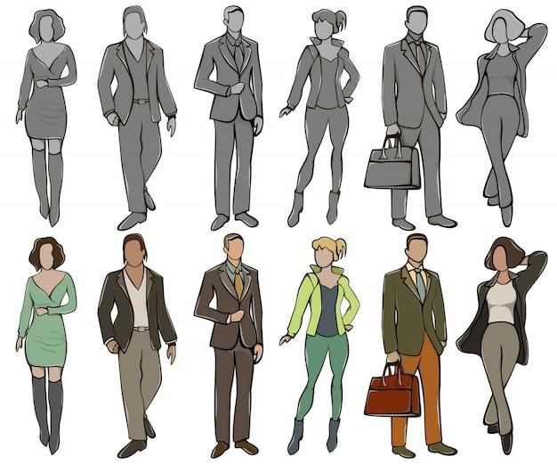 Pictogrammen vrouwelijke avatar en mannelijke avatar in kleur en grijze samentrekking.