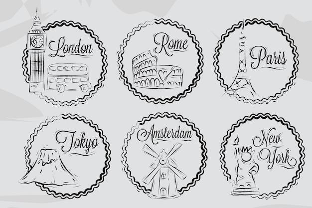 Pictogrammen wereldsteden