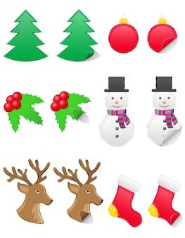 Pictogrammenetiketten voor kerstmis en nieuwjaar.