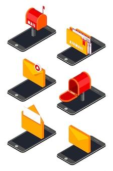 Pictogrammenset met isometrische pictogrammen voor mobiele telefoon en mail