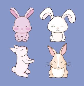Pictogramreeks leuke konijnen over purpere achtergrond