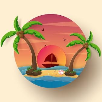 Pictogramstijl zomerseizoen, schip in de oceaan met het eiland