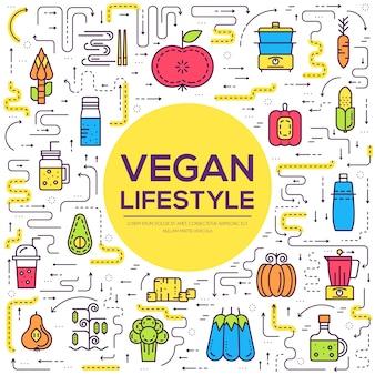 Pictogramvoedsel op tafel. eco vegan kwaliteit trendy diner, lunch, snack en ontbijt