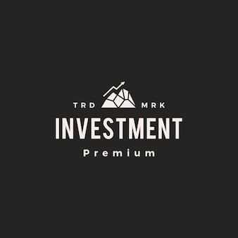 Piek investeringen pijl grafiek hipster vintage logo pictogram illustratie