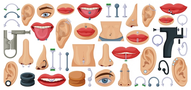 Piercing cartoon set icoon. geïsoleerd illustratielichaam op witte achtergrond. cartoon set pictogram piercing.