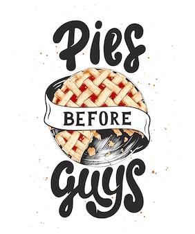 Pies voor jongens met taartschets