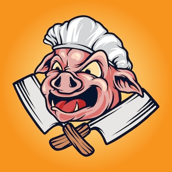 Pig chef barbecue bbq mascotte logo