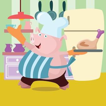 Pig chef cartoon illustration