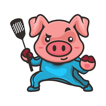 Pig kungfu mascot design