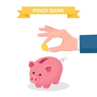 Piggy bank geïsoleerd op een witte achtergrond. zakelijke man houdt gouden munten. geld besparen. investering bij pensionering. rijkdom, inkomen concept. deposito's sparen. contant geld vallen in de spaarpot. vector plat ontwerp