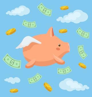 Piggy bank karakter vliegen in de lucht.