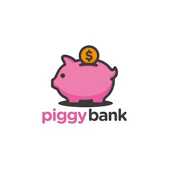 Piggy bank logo sjabloon