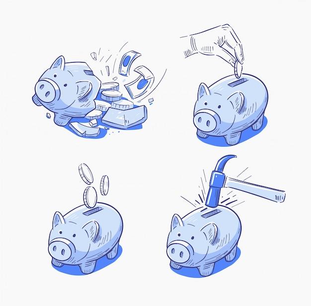 Piggy bank pictogrammen. gebroken spaarvarken. illustratie in lineart stijl.