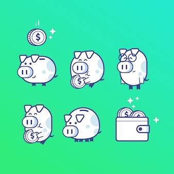 Piggy bank pictogrammen karakter