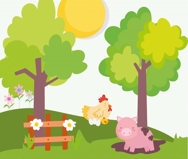 Piggy in de dieren van het de boomlandbouwbedrijf van de modderkip houten omheining