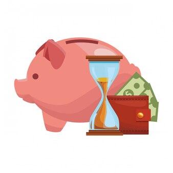 Piggy met portefeuille geld en zandloper