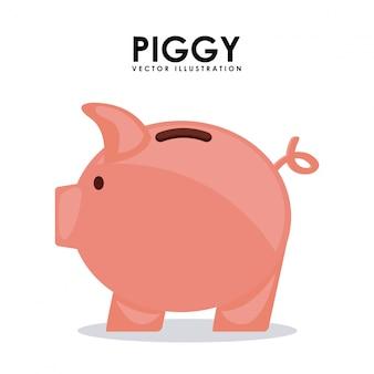 Piggy ontwerp over witte achtergrond vectorillustratie