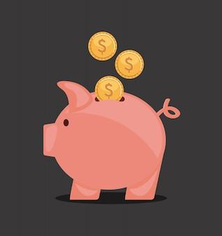 Piggy ontwerp over zwarte achtergrond vectorillustratie